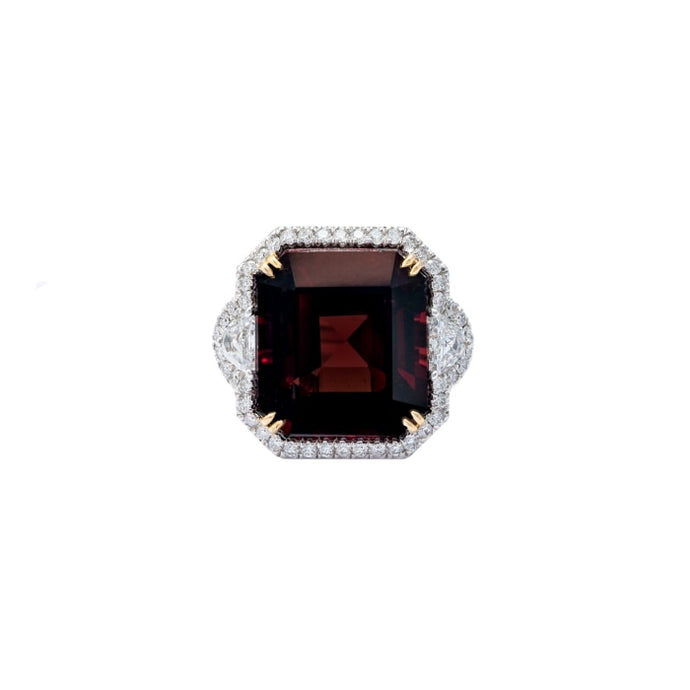 13.46ct Cushion Cut Deep Red Burma Natural Spinel 3-Stone Ring (Two Tone) - JEWELRY Boston