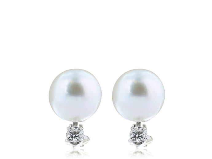13mm South Sea Pearl & Diamond Earrings (White Gold) - JEWELRY Boston