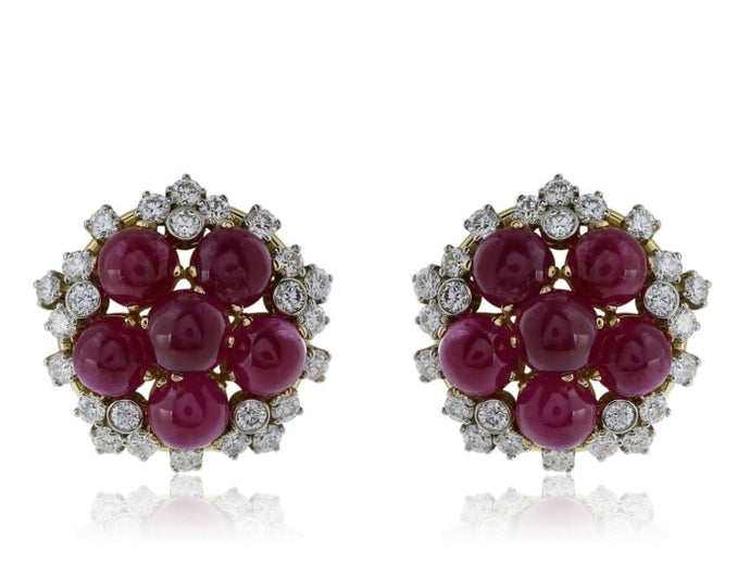 14.00 Carat Cabochon Ruby And Diamond Earrings (18K Yellow Gold) - Jewelry Boston