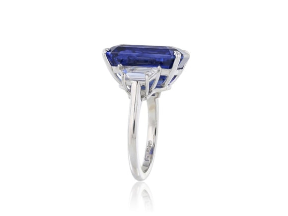 14.15 Carat Cushion Cut Blue Ceylon Sapphire 3 Stone Ring (Platinum) - Jewelry Boston