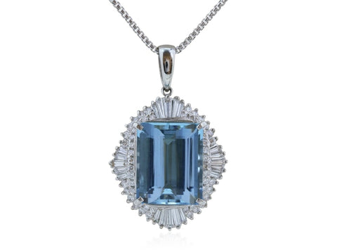 14.47 Carat Aquamarine And Diamond Pendant - Jewelry Boston