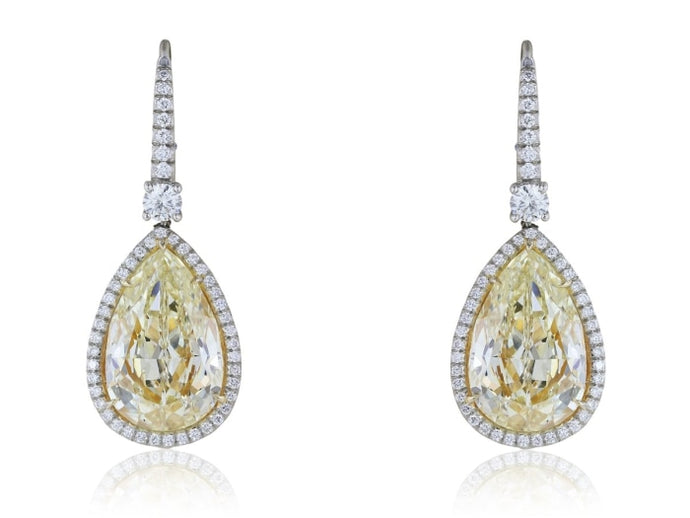 14.50ct Estate Natural Canary Pear Shape Drop Earrings (Platinum) - JEWELRY Boston