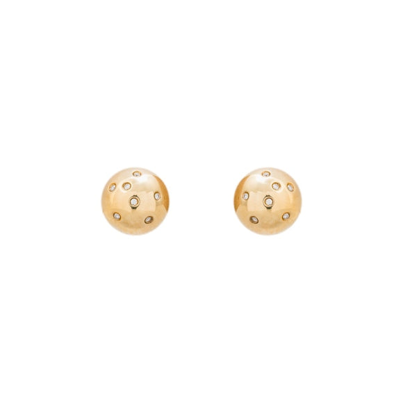14 Karat Gold Dome Earrings With .30 Carats Diamonds - Boston