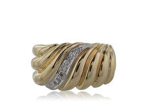 14 Karat Yellow Gold Wide Scroll Band - Jewelry Boston