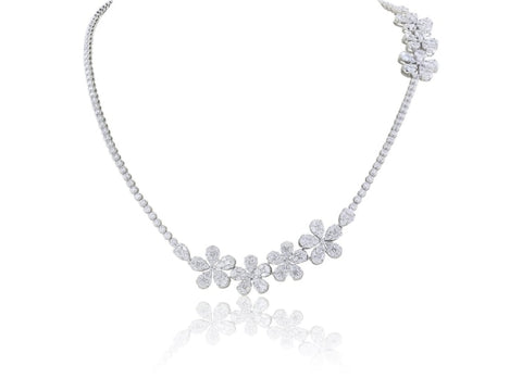 15.72ct Long Diamond Flower Cluster Necklace (F-G/SI1 18k White Gold) - JEWELRY Boston