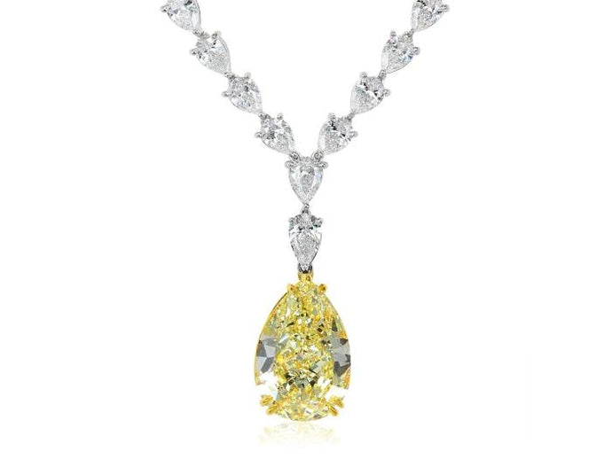 15.98Ct Pear Shape Canary Diamond Necklace - Boston