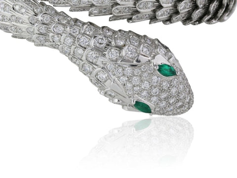 16.05Ct Diamond And Emerald Eye Snake Bracelet (18K White Gold) - Jewelry Boston