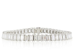 16.57 Carat E-F Vs1-Vs2 Emerald Cut Diamond Bracelet - Jewelry Boston