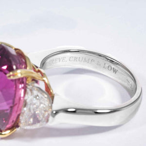16.95 Carat Oval Pink Sapphire Three Stone Ring with 2 Half Moon Diamonds - Boston