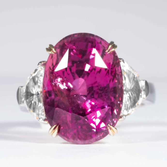 16.95 carat Oval Cut Pink Sapphire and Diamond 3-Stone Platinum (Dunaigre) - Boston