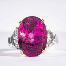Load image into Gallery viewer, 16.95 Carat Oval Pink Sapphire Three Stone Ring with 2 Half Moon Diamonds - Boston