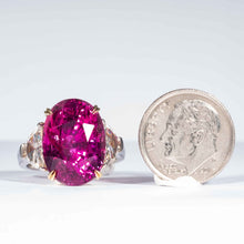 Load image into Gallery viewer, 16.95 carat Oval Cut Pink Sapphire and Diamond 3-Stone Platinum (Dunaigre) - Boston