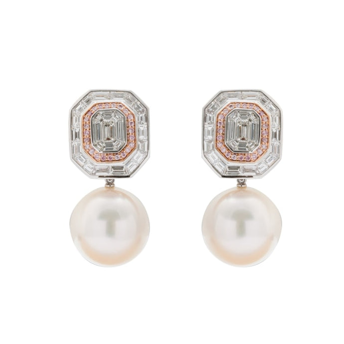 16Mm South Sea Pearl And Pink Diamond Earrings - Jewelry Boston