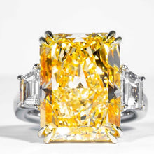 Load image into Gallery viewer, 17.01 carat Fancy Yellow Radiant Cut 3-Stone Diamond Ring (GIA Certified) - ENGAGEMENT Boston