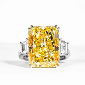 17.01 carat Fancy Yellow Radiant Cut 3-Stone Diamond Ring (GIA Certified) - ENGAGEMENT Boston