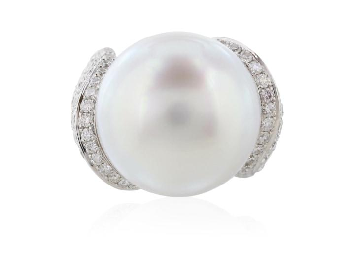 17.5Mm South Sea Pearl Ring With 3.24 Carat Diamond Setting - Jewelry Boston