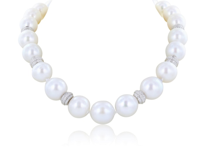 17 Pearl Necklace With Diamond Rondelles And Clasp - Jewelry Boston