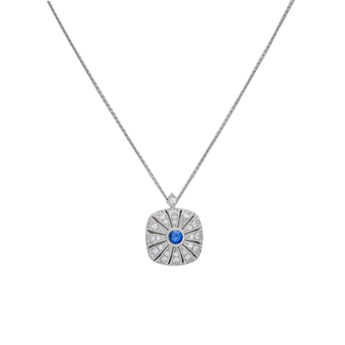 .17CTW Sapphire and Diamond Necklace (White Gold) - JEWELRY Boston
