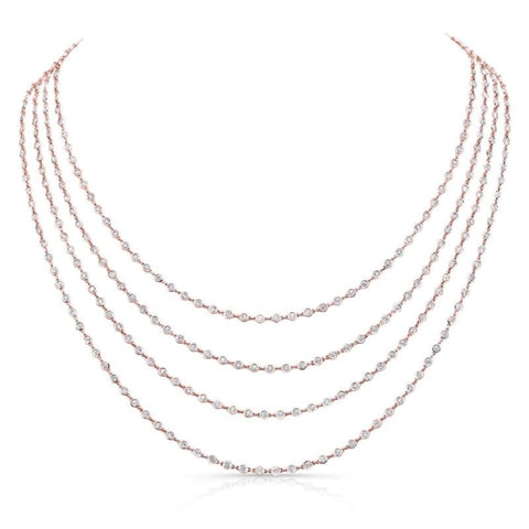 18.01 Carat Diamonds By The Yard Necklace (18K Rose Gold) - Jewelry Boston
