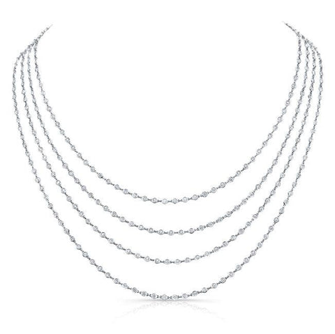 18.02 Carat Diamonds By The Yard Necklace (18K White Gold) - Jewelry Boston