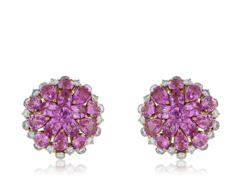 18.10 Carat Pink Sapphire & Diamond Earrings Signed Aletto Brothers - Jewelry Boston