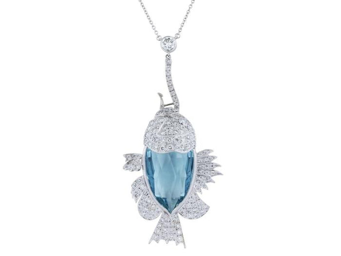 Aquamarine & Diamond Fish Pendant - Boston