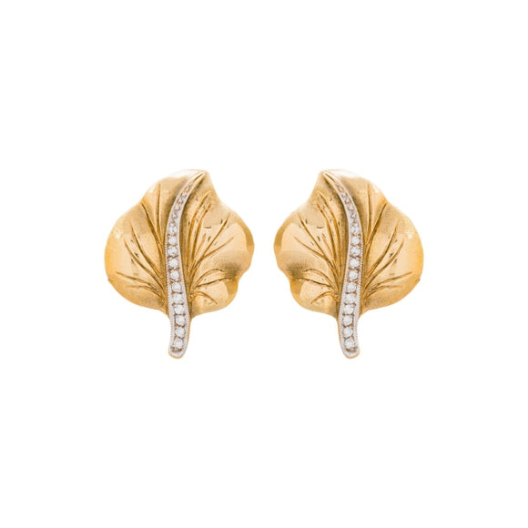 18 Karat Gold Leaf Motif Earrings With Diamond Accents - Boston