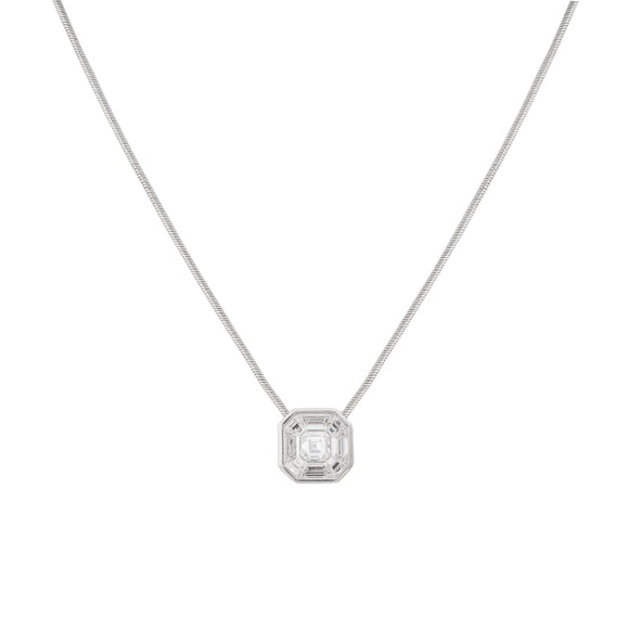 18 karat White Gold 1.00 carat Invisible Set Diamond Pendant - Boston