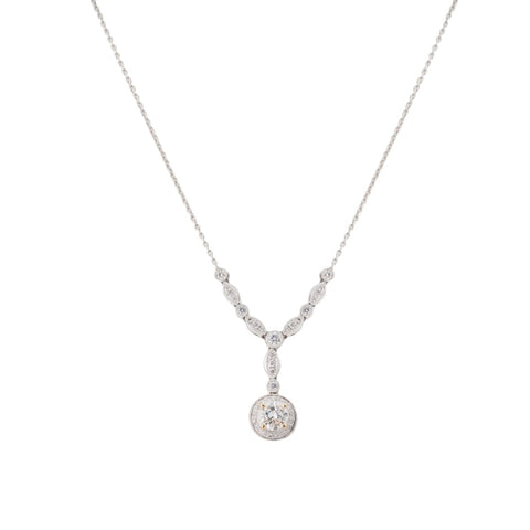 18 Karat White Gold And Diamond Y Shape Necklace - Boston