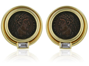 18 Karat Yellow Gold Bvlgari Ancient Coin And Diamond Earrings - Jewelry Boston