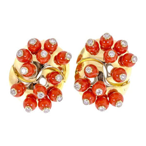 18 Karat Yellow Gold Coral And Diamond Clip On Earrings - Jewelry Boston