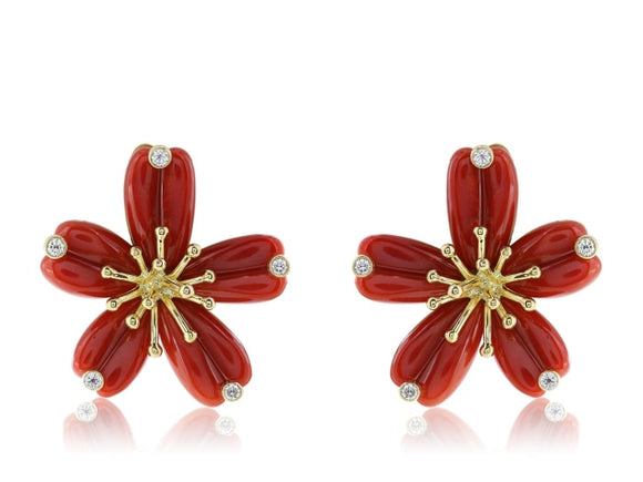 18 Karat Yellow Gold Coral And Diamond Floral Motif Earrings - Jewelry Boston