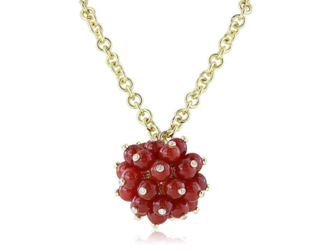 18 Karat Yellow Gold Coral Diamond Carolina Pom Pom Necklace - Jewelry Boston