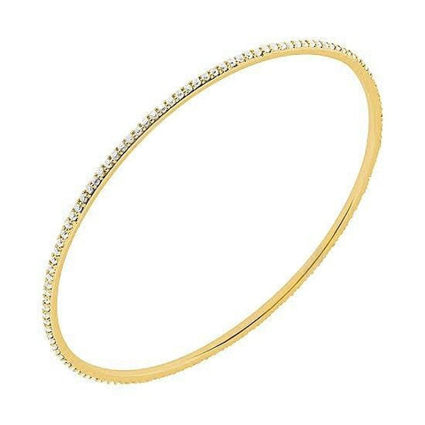 18 Karat Yellow Gold Diamond Eternity Bangle - Jewelry Boston