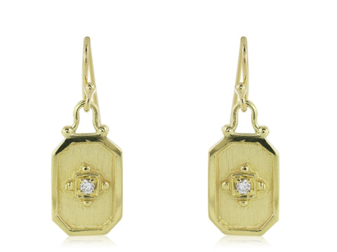 18 Karat Yellow Gold Drop Earrings - Jewelry Boston