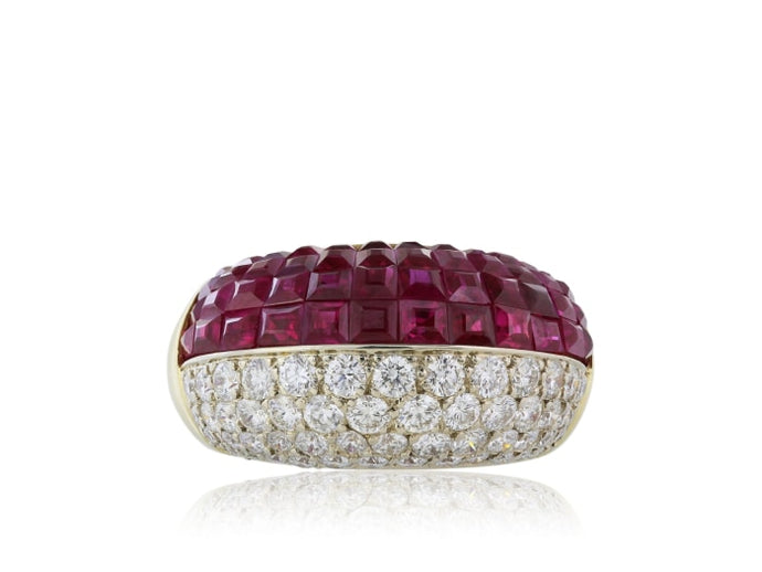 18 Karat Yellow Gold Ruby And Diamond Ring - Jewelry Boston
