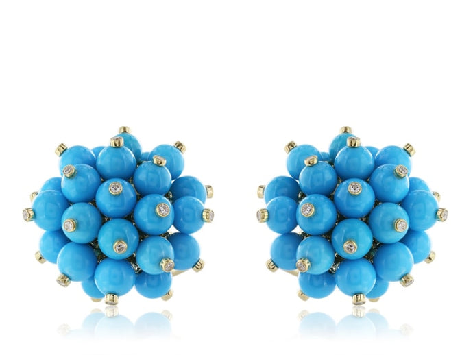 18 Karat Yellow Gold Turquoise And Diamond Cluster Earrings - Jewelry Boston