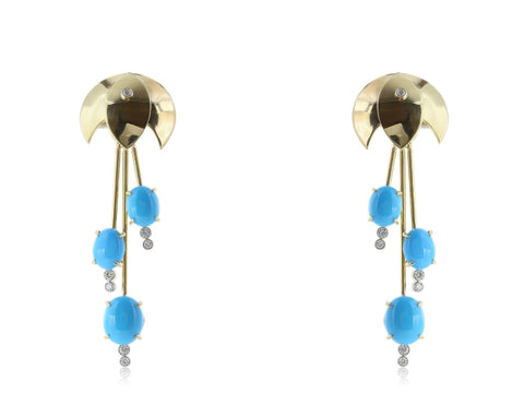 18 Karat Yellow Gold Turquoise And Diamond Waterfall Earrings - Jewelry Boston