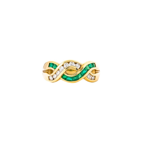 18 Karat Yellow Gold Woven Emerald (.55 Carats) And Diamond (.30 Carats) Band - Boston