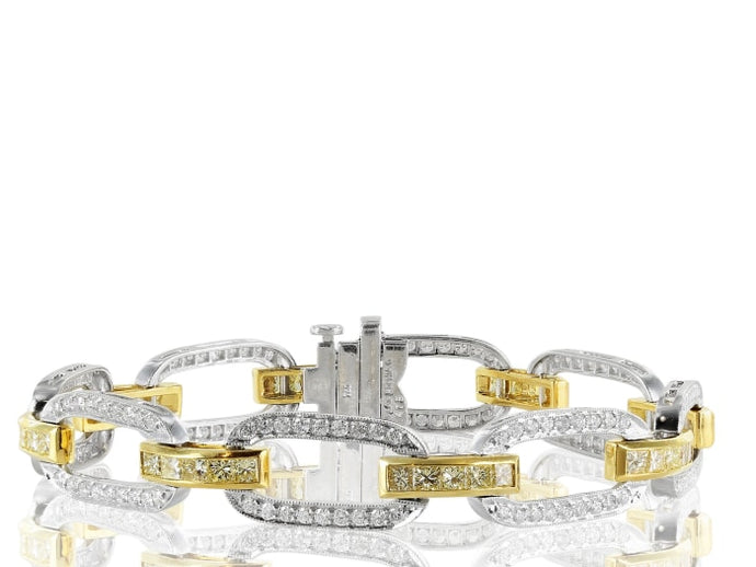 184 Colorless & Canary Diamond Bracelet - Jewelry Boston