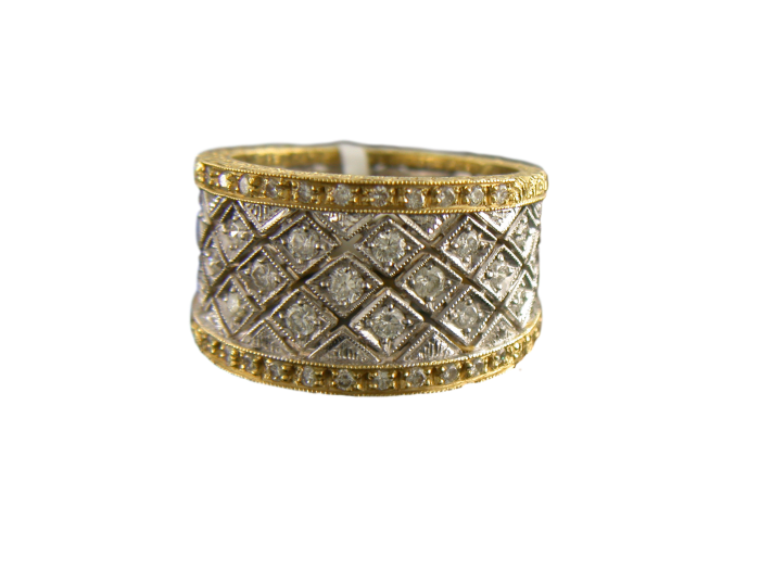 18K Gold Full Cut Diamond Ring - Jewelry Boston