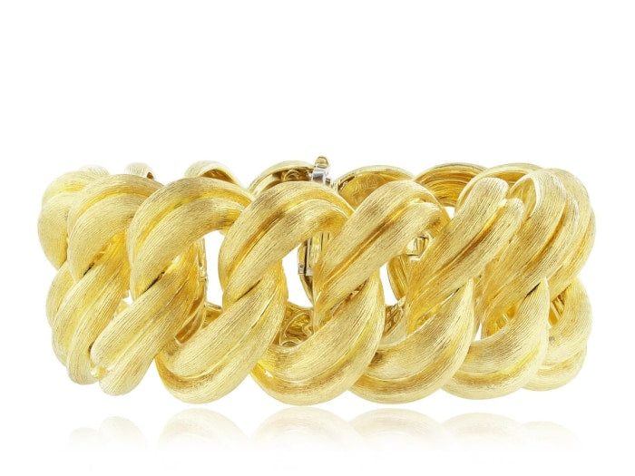 18K Henry Dunay Yellow Gold Solid Wide Woven Florentine Bracelet - Jewelry Boston