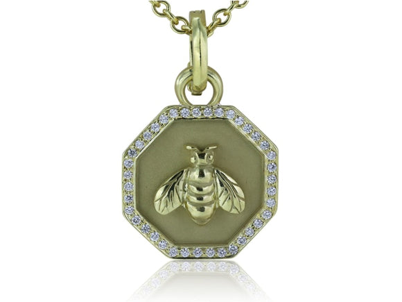 18K Yellow Gold Diamond Bee Pendant - Jewelry Boston