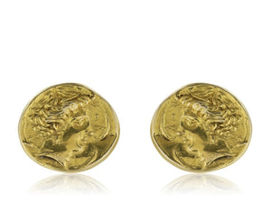18K Yellow Gold Roman Art Nouveau Earrings - Jewelry Boston