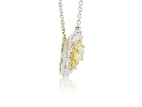 18Kt Gold Canary Diamond Cluster Pendant - Jewelry Boston