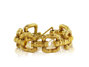 18Kt Gold Ladies Bamboo Style Bracelet - Jewelry Boston