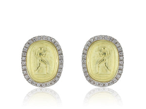 18Kt Gold Roman Style Diamond Stud Earrings - Jewelry Boston