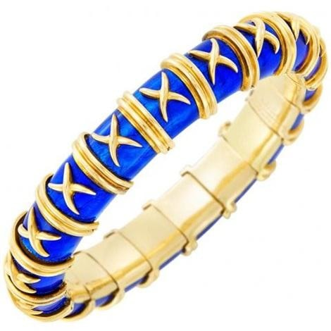 18Kt Gold Schlumberger Enamel Bracelet - Jewelry Boston