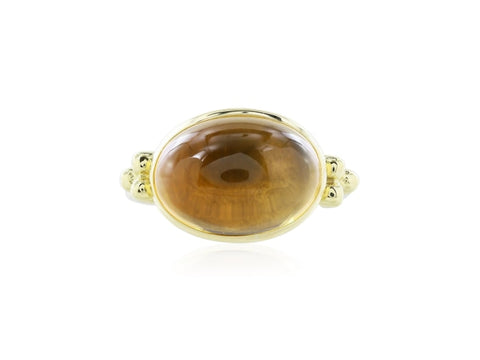 18Kt Yellow Gold Cabochon Citrine Ring - Jewelry Boston