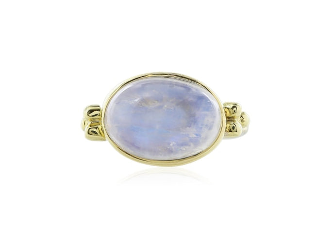 18Kt Yellow Gold Cabochon Moonstone Ring - Jewelry Boston